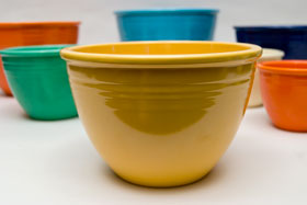 Vintage Fiesta Nesting Bowl Number Four in Yellow For Sale