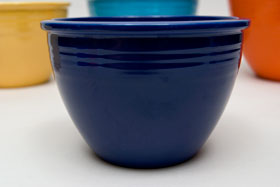 Red Vintage Fiesta Nesting Bowl Number Two in Cobalt For Sale