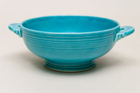 Vintage Fiestaware Turquoise Cream Soup Bowl: Fiesta Dinnerware 30s 40s 50s 60s For Sale
