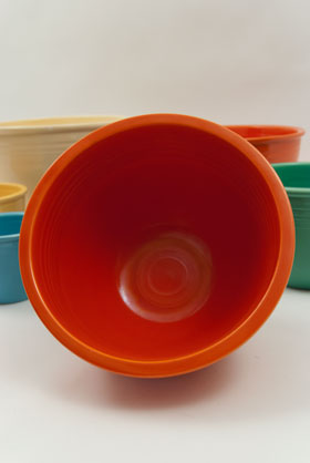 Vintage Fiesta Nesting Bowl Number Six in Radioactive Red For Sale