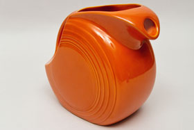 Vintage Fiestaware Disk Water Pitcher in Original Radioactive Red Glaze For Sale