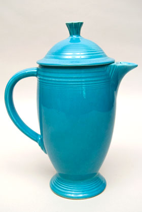 Fiesta Vintage Original Turquoise Coffee Pot: Fiestaware Pottery For Sale