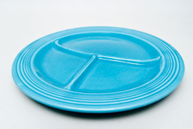 Vintage Fiesta Ten Inch Divided Plate in Original Turquoise: Genuine, Old, Antique, For Sale, Gift