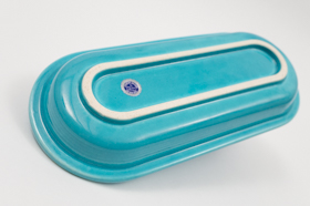 Vintage Fiesta Early Variation Utility Tray in Original Turquoise
