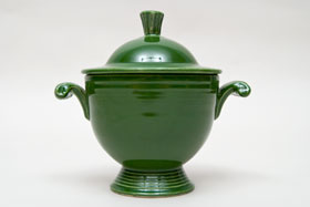 Vintage Fiestaware Sugar Bowl in Original Forest Green Glaze For Sale