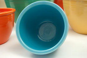 Vintage Fiestaware Number One Turquoise Nesting Bowl For Sale