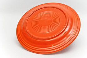 Vintage Fiesta 10 1/2 Inch Divided Plate in Original Radioactive Red: Genuine, Old, Antique, For Sale, Gift