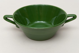 Vintage Harlequin Pottery For Sale: Forest Green Cream Soup Bowl 40s 50s Pottery