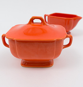 Vintage Fiesta Red Riviera Sugar and Creamer Set