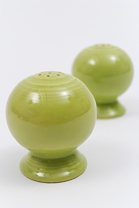 Vintage Fiestaware Salt and Pepper Shakers in Original 50s Chartreuse Glaze For Sale
