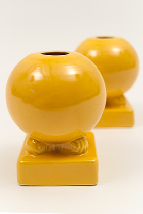 Original Yellow Vintage Fiesta Bulb Candle Holders Fiestaware Pottery For Sale