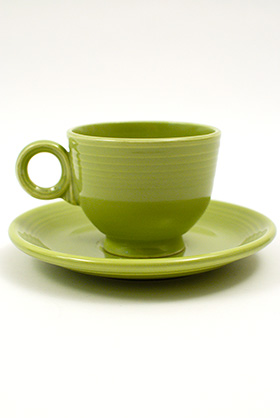 50s Fiesta Chartreuse Fiesta Teacup and Saucer Fiestaware Pottery For Sale