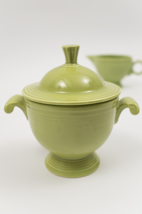 Vintage Fiesta Chartreuse Sugar and Creamer Set