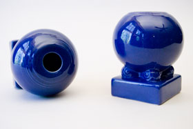 Vintage Fiesta Pottery Bulb Candle Holders in Original Cobalt Glaze for Sale
