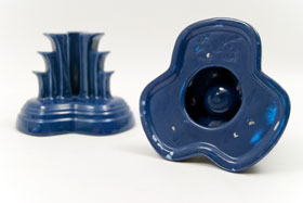 Vintage Fiesta Tripod Candle Holders in Cobalt: Hard to Find Go-Along Fiestaware Pottery For Sale