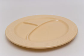 Vintage Fiesta Ten Inch Divided Plate in Original Ivory: Genuine, Old, Antique, For Sale, Gift