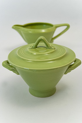 Harlequin Pottery Sugar Bowl and Creamer Set in Original 50s Chartreuse Glaze