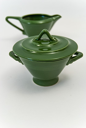 Harlequin Pottery Sugar Creamer Set Original Forest Green Glaze