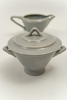 Harlequin Pottery Sugar Creamer Set Original 50s Gray Glaze