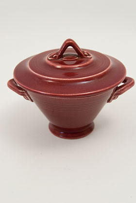 Harlequin Pottery Sugar Bowl in Original Maroon Glaze