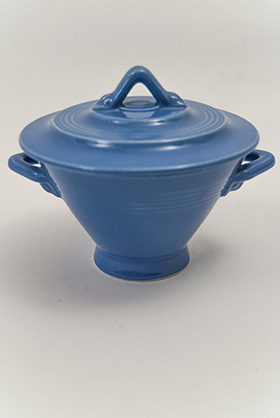 Harlequin Pottery Sugar Bowl in Original Mauve Blue Glaze