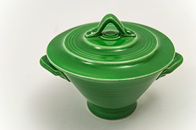 Harlequin Pottery Sugar Bowl in Original Medium Green Glaze