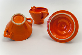 Harlequin Red Sugar Bowl and Creamer: Gift, Rare, Hard to Find, Buy Onlline Now, American Antique Pottery