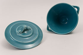 Harlequin Pottery Sugar Bowl in Original Turquoise Glaze