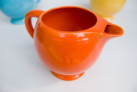 Vintage Fiesta Ice Lip Pitcher in Original Radioactive Red: Genuine, Old, Antique, For Sale, Gift
