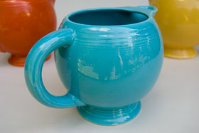 Vintage Fiesta Ice Lip Pitcher in Original Turquoise: Genuine, Old, Antique, For Sale, Gift