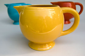Vintage Fiesta Ice Lip Pitcher in Original Yellow: Genuine, Old, Antique, For Sale, Gift