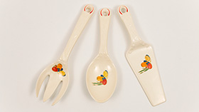 Mexicana Set of Three Kitchen Kraft Utensils with Red Stipes Vintage Fiesta Pottery