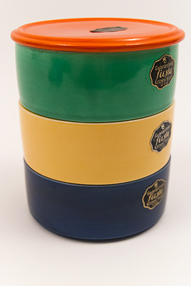 Kitchen Kraft Stacking Refrigerator Set with Red Lid in All Original Vintage Fiesta Kitchen Kraft Colors: Hard to Find Go-Along Fiestaware Pottery For Sale