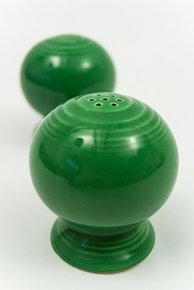 Vintage Fiestaware Salt and Pepper Shakers in Original Original Medium Green  Glaze For Sale