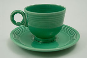 Fiesta Green Fiesta Teacup and Saucer Fiestaware Pottery For Sale
