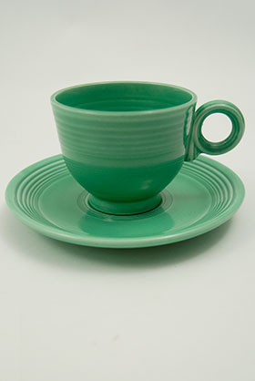 Original Green Fiesta Teacup and Saucer Fiestaware Pottery For Sale