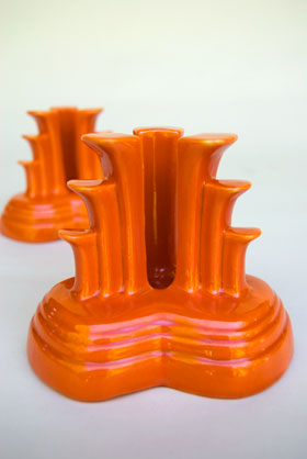Vintage Fiesta Tripod Candle Holders in Red: Hard to Find Go-Along Fiestaware Pottery For Sale