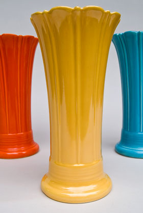 Vintage Fiesta 10 inch Original Yellow  Fiestaware Pottery Vase: Gift, Rare, Hard to Find, Buy Onlline Now, American Antique Pottery