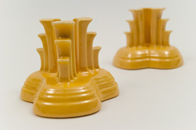 Vintage Fiesta Original Light Yellow Fiestaware Pottery Tripod Candle Holders: Gift, Rare, Hard to Find, Buy Onlline Now, American Antique Pottery