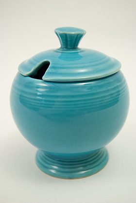 Vintage FIestaware: Original Turquoise Fiesta Pottery Marmalade For Sale