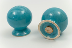 Vintage Fiestaware Salt and Pepper Shakers in Original Turquoise  Glaze For Sale