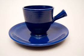 Vintage Fiestaware Demitasse Stick Handle Cup and Saucer Set in Original Cobalt Blue Glaze For Sale
