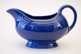 Vintage Fiestaware Sauce Boat in Original Cobalt Blue Glaze For Sale