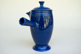 VIntage Fiestaware, Original Cobalt Blue, Demitasse Coffeepot, A.D., Stick Handle, Rare Pottery For Sale