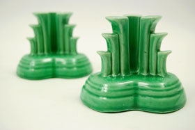 Vintage Fiesta Original Light Green Fiestaware Pottery Tripod Candle Holders: Gift, Rare, Hard to Find, Buy Onlline Now, American Antique Pottery
