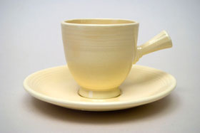 Vintage Fiestaware Demitasse Stick Handle Cup and Saucer Set in Original ivory Blue Glaze For Sale
