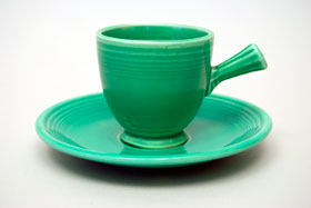 Original Green Vintage Fiesta Demitasse Cup and Saucer Set Fiestaware Pottery For Sale