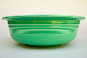 Green Vintage Fiesta 9 and one half inch nappy bowl Fiestaware For Sale Old Authentic