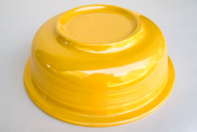 Yellow Vintage Fiesta 9 and one half inch nappy bowl Fiestaware For Sale Old Authentic