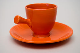 Radioactive Red Vintage Fiesta Demitasse Cup and Saucer Set Fiestaware Pottery For Sale